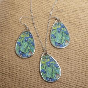 Jewelry - Van Gogh's Irises Necklace & Earrings Set